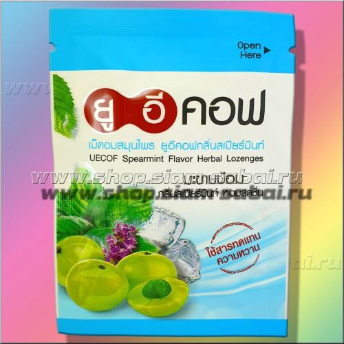 Тайские аюрведические таблетки от кашля UECOF с мятой и эмбликой