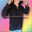 Мужская ЧЕРНАЯ рубашка с капюшоном с длинным рукавом из Тайланда